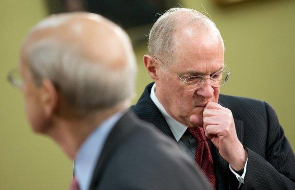 Justice Anthony M. Kennedy, right, here with Justice Stephen G. Breyer, could be the swing vote on affirmative action cases before the Supreme Court.
