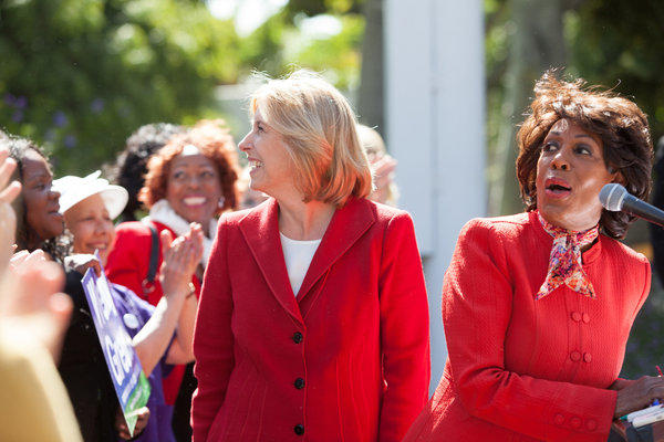Democratic Rep. Maxine Waters (D-Los Angeles), right, endorses Los Angeles mayoral candidate Wendy Greuel, left, on the steps of City Hall on Monday.
