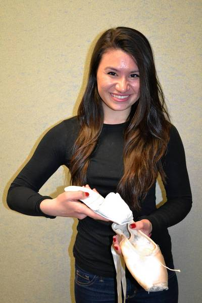 Noelani Ho and the ballet pointe shoe she designed.