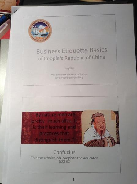 Delegates traveling with Gov. Jerry Brown received this handout about business etiquette in the country.