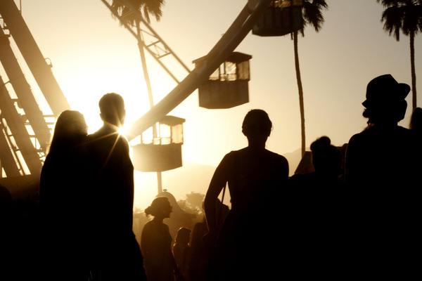 The sun sets at the Coachella Music Festival in 2012.