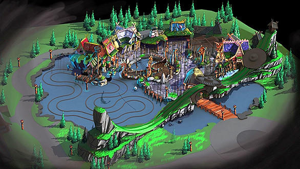 Concept art of the Vicky the Viking themed land at Belgium's Plopsaland.