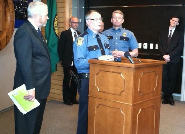 Seattle Police Chief John Diaz announces his retirement. At left is Mayor Mike McGinn.