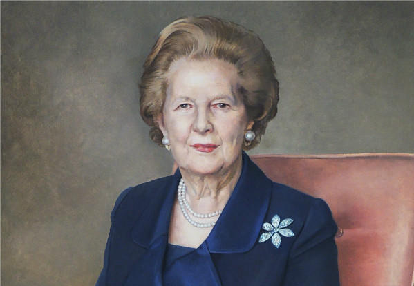 Richard Stone's portrait of former British Prime Minister Margaret Thatcher is part of a new exhibition at the Reagan Library and Museum in Simi Valley.