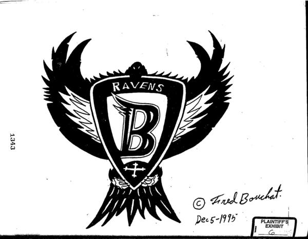 "Frederick E. Bouchat has been credited with designing the Ravens' first logo, known as the ""Flying B."""