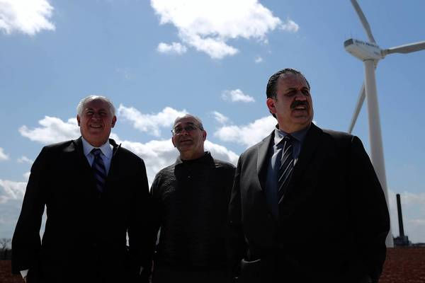 Gov. Pat Quinn, from left, tours Cristina Foods on Monday with Peter Testa and Cesar Dovalina.