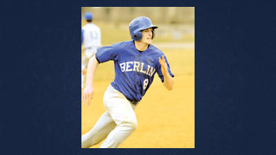 Drew Glotfelty rounds third on his way to scoring Berlin's fourth run during the second inning against Windber on Monday.