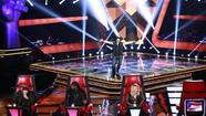 'The Voice' Blind Auditions: (l-r) Blake Shelton, Usher, Michael Austin, Shakira.