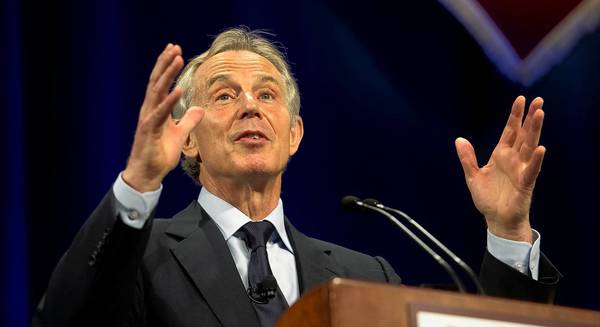 Former British Prime Minister Tony Blair speaks at Lafayette College in Easton on Monday, April 8, 2013.