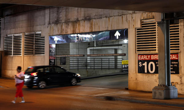 Cars pull in at the Ogden Plaza Parking Garage at 300 E. North Water St. in 2010.