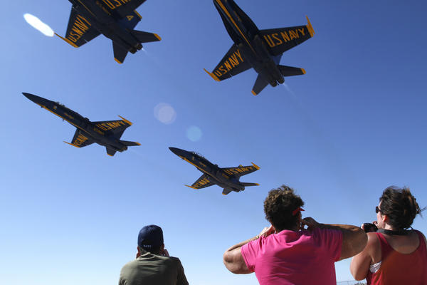 The Blue Angels fly in a show at the Naval Air Facility in El Centro.