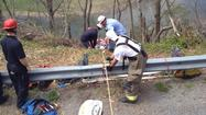 Botetourt County crews have rescued the man who fell 40 feet Tuesday afternoon along the James River.