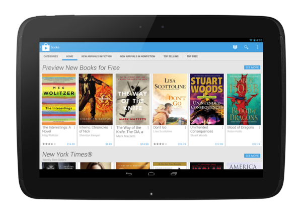 A Nexus 10 tablet shows the redesigned look of the mobile version of Google Play.