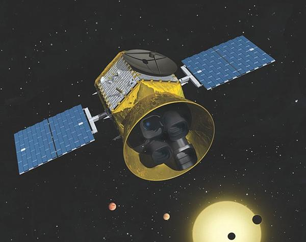 An artist's rendering of TESS in orbit. The Transiting Exoplanet Survey Satellite mission, to be launched in 2017, will be scanning the entire sky for planets orbiting stars 200 to 300 light years away.