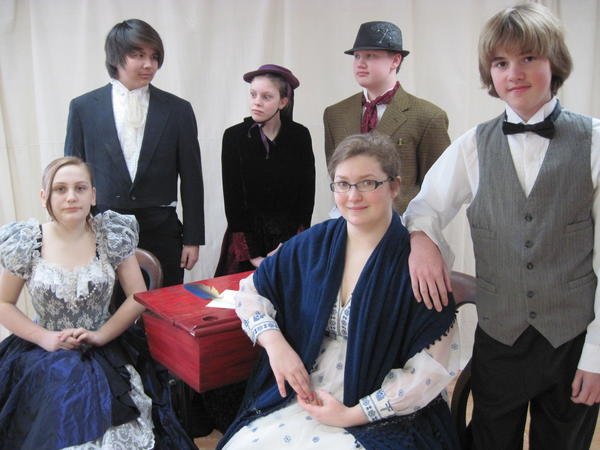 "Concord Academy theater students (from left) Brooke Gibbs, Alex Boulton, Tina Sutton, Rachel Blome, Cayne Davis and Jackson Haugen star in the seventh- and eighth-grade class production of ""David Copperfield."""