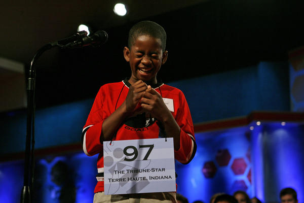 "Kennyi Aouad, 11, of Terre Haute, Ind., bursts into laughter when asked to spell the word ""sardoodledom"" in Round 3 of the 2007 Scripps National Spelling Bee in Washington. This year a vocabulary test has been added to the competition."