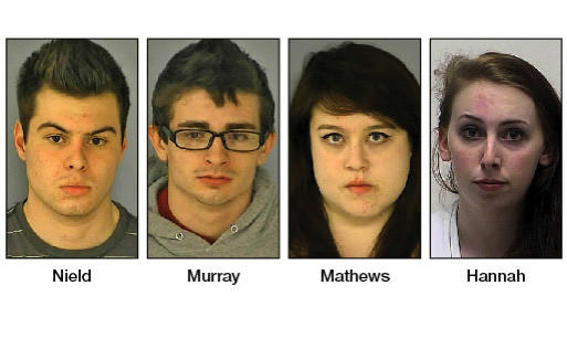 Morgan Thomas Nield, Tyler William Murray, Sarah Camille Mathews and Olivia Marie Hannah have been charged in connection with nearly 40 recent fires in Washington and Frederick counties.