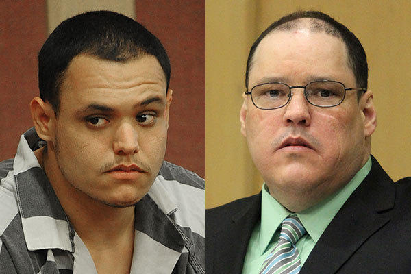 Randy H. Tundidor, left, and his father, Randy W. Tundidor, right. The younger Tundidor is serving a 40-year prison sentence for the murder of Joseph Morrissey. The father faces the death penalty for the same crime.