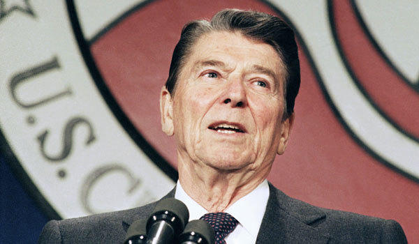 Ronald Reagan has an edge on President Obama, according to a new survey.