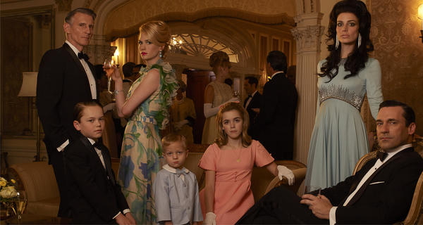 """Mad Men"" Season 6: From left, Henry Francis (Christopher Stanley), Bobby Draper (Mason Vale Cotton), Betty Francis (January Jones), Gene Draper (Evan and Ryder Londo), Sally Draper (Kiernan Shipka), Megan Draper (Jessica Pare) and Don Draper (Jon Hamm)."