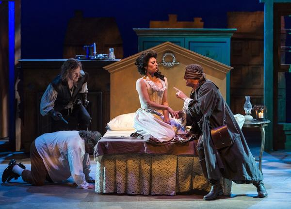 """Robber-priest Gloss (Time Winters, right) menaces frustrated Mrs. Sullen (Abby Craden) as seducer Archer (Blake Ellis) and cowering servant Scrub (Alan Blumenfeld) prepare to leap to her defense in """"The Beaux' Strategem."""""""