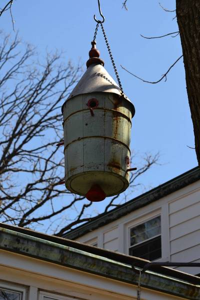 Palos Heights resident Durward Fagan made this birdhouse from an old wooden creamer barrel that his mother used to make ice cream in when his was a child.