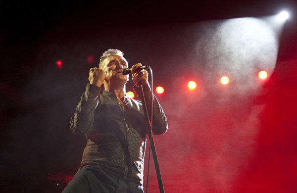 "Morrissey, known for his dramatic performances on stage (as seen here at the Staples Center in Los Angeles on March 1, 2013), had caustic remarks about Margaret Thatcher, who died Monday: ""Thatcher was not a strong or formidable leader,"" he said through a spokesman."