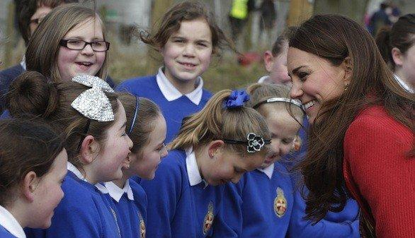 Kate Middleton, the Duchess of Cambridge, visits with schoolchildren in Ayrshire, Scotland.