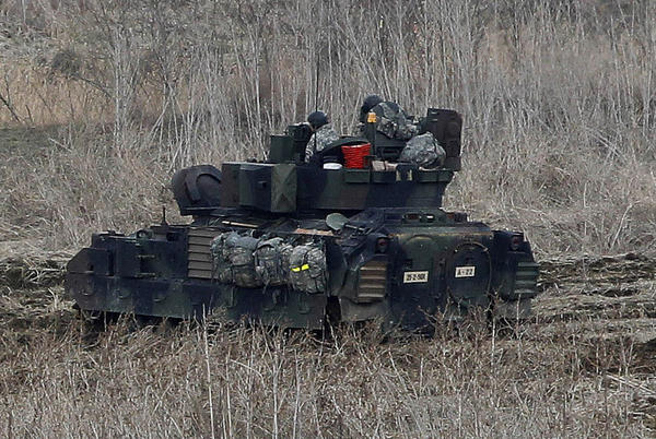 U.S. Army soldiers conduct annual military drills in Yeoncheon, South Korea, near the border with North Korea, on Tuesday.