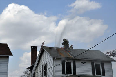 Firefighters battled an afternoon blaze at 105 11th Street in WIndber.