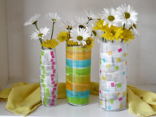 Vases get spiffed up with decoupage medium and colorful pieces of tissue.