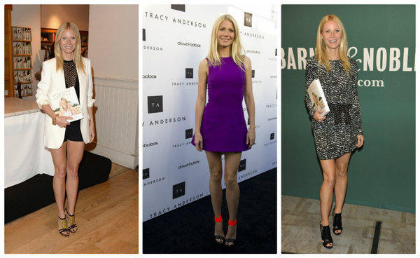 Gwyneth Paltrow shows leg at book signings and events in Los Angeles last week.