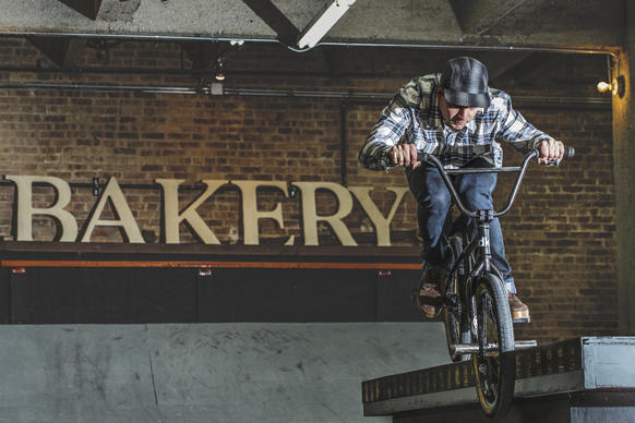 Brian Kachinsky at his private indoor skate park, 'The Bakery' ( 2150 S. Canal Port ) on April 9,