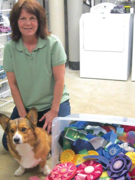 Gretchen Mason is shown with Baron, one of her award-winning Corgis.