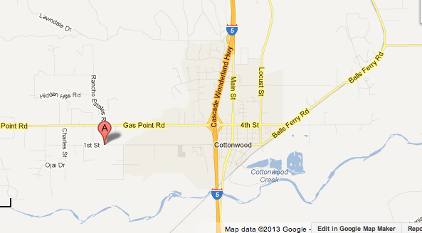 Map shows the location of a suspected hash-oil explosion that left a 22-year-old man badly burned in Cottonwood.
