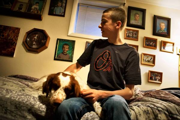 Dominic Solesky, 16, sits with the family's four-tear-old brittany spaniel. In 2007, he was near his Towson home when he was attacked by a pit bull.