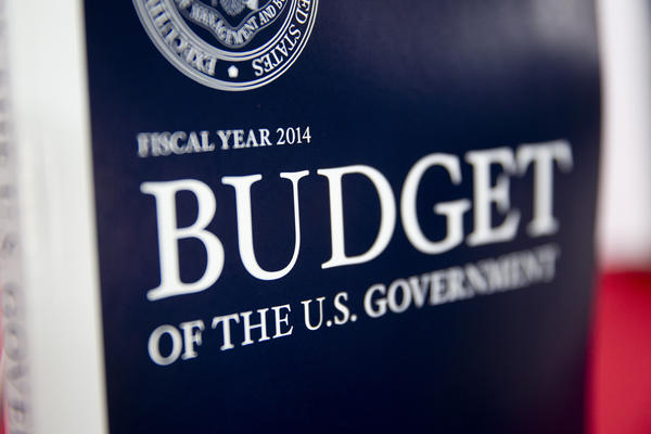 A copy of the Fiscal Year 2014 Budget sits on display at the U.S. Government Printing Office in Washington, D.C.