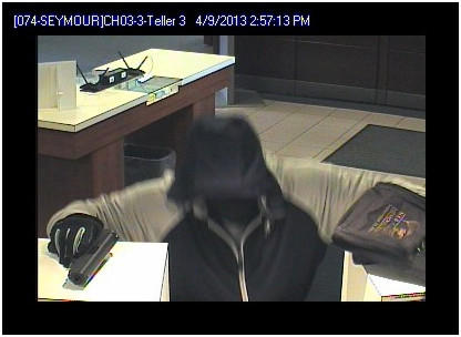 This surveillance photo from the Webster Bank on New Haven Road in Seymour shows a man police said robbed the establishment around 3 p.m. on Tuesday, April 9.