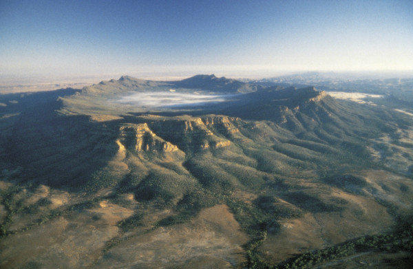 An aerial view of Wilpena Pound in Australia's Flinders Ranges National Park.