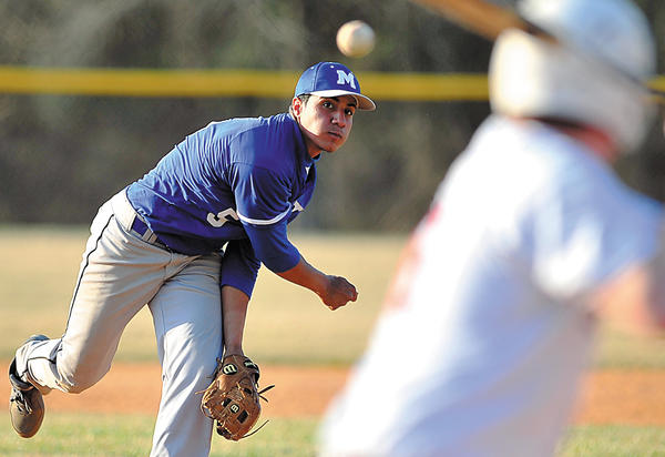 Mercersburg Academy's Joe Sanchez throws the final pitch of the game Tuesday against Saint James. Sanchez pitched all five innings in his first start of the year, finishing with a four-hit shutout.