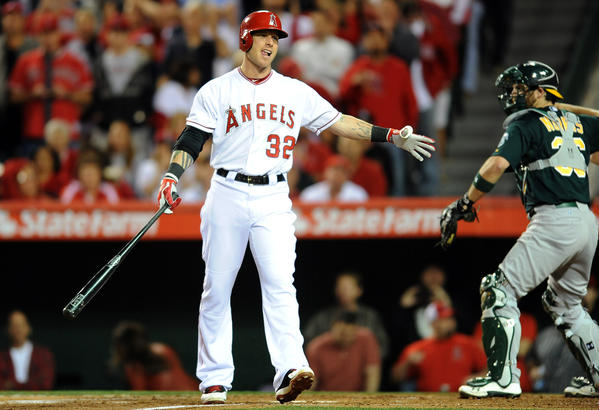 Angels Josh Hamilton strikes out with the bases loaded in the first inning against the A's.