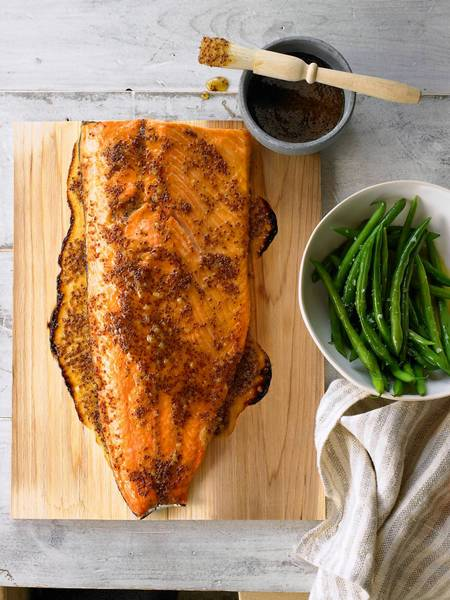 Roasted Cedar-Plank Salmon with Mustard-Maple Glaze is in the new Prevention cookbook '101 Recipes You Can't Live Without.'