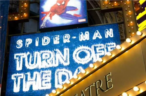 """The marquee for the Broadway musical """"Spider-Man Turn: Off the Dark"""" outside of the Foxwoods Theatre on West 42nd Street in New York."""