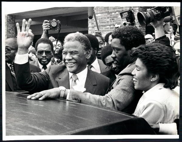 Chicago Mayor Harold Washington at his inauguration at Navy Pier on April 29, 1983.