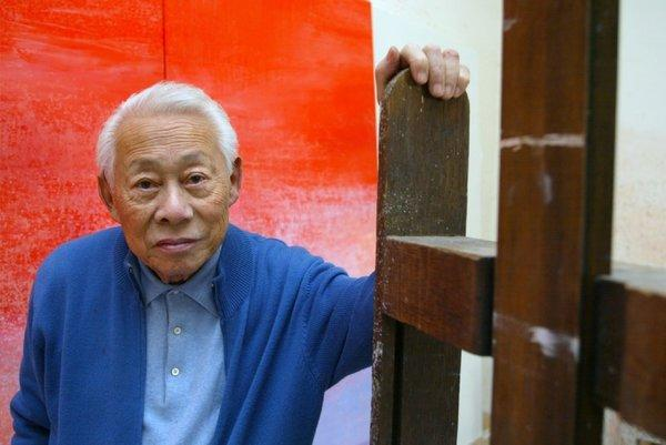 Chinese painter Zao Wou-ki in his workshop.