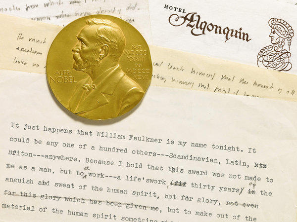 This undated photo provided by Sotheby's shows the Nobel Prize medal awarded to William Faulkner and a draft of his acceptance speech for his Nobel Prize for literature, to be auctioned at Sotheby's.