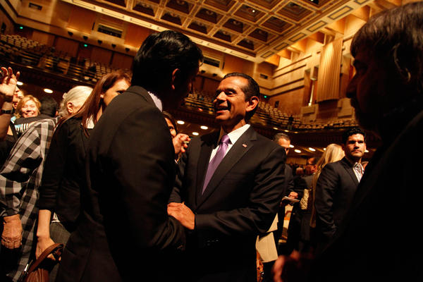 Mayor Antonio Villaraigosa greets supporters after delivering his last State of the City address at UCLA's Royce Hall.