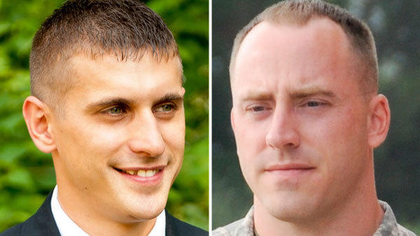 Jarett Yoder, 27, left, an Oley Valley High School graduate from Berks County, and Matthew Ruffner, 34, of Harrisburg, were killed in a helicopter crash in Afghanistan on Tuesday.