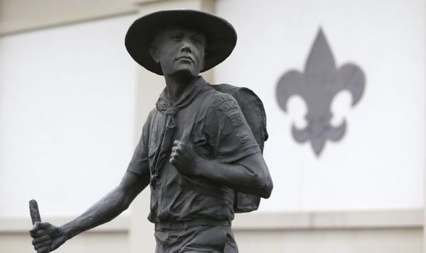 "A statue of a Boy Scout stands in front of the National Scouting Museum in Irving, Texas. ""Are we in California in the business of paying for discrimination?"" Sen. Ricardo Lara (D-Bell Gardens) asked his colleagues. ""I don't think we are."""
