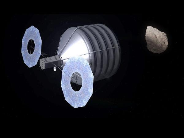 Concept of asteroid capture in progress.